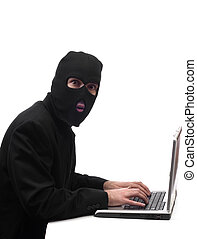Fraud - Concept image of a businessman wearing a black ...