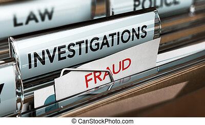 Fraud Investigation, Detective Files - 3D illustration of...