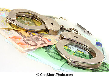Fraud - Euro notes and handcuffs ion a white background