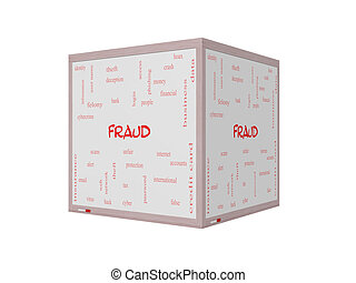Fraud Word Cloud Concept on a 3D Whiteboard - Fraud Word...