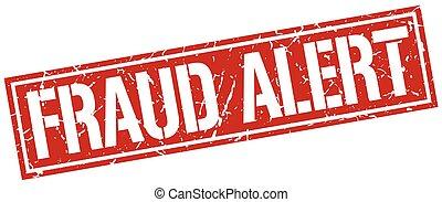 fraude, alerta, quadrado, grunge, selo