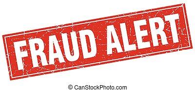 fraude, alerta, quadrado, selo