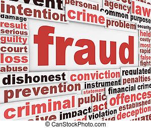 fraude, boodschap, conceptueel, ontwerp