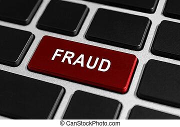 fraude, bouton, sur, clavier