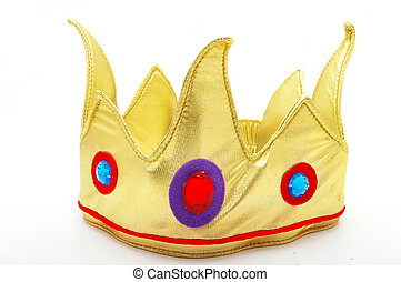 fraude, brinquedo, coroa ouro, isolado, branco