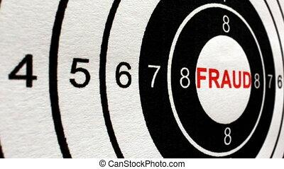 fraude, concept, coup, cible, chariot