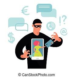 fraude, crime, argent, écran, cyber, ligne, banque, hacking., card., vecteur, téléphone, conceptuel, plat, girl, illustration, données, scammer, illustration., voler