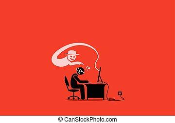 fraude, cyber, scammer, internet, user., tentando