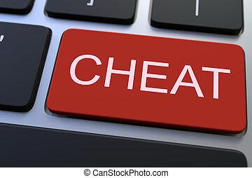 fraude, fazendo, key., teclado, conceitual, 3d