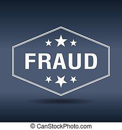 fraude, hexagonal, blanco, vendimia, estilo retro, etiqueta