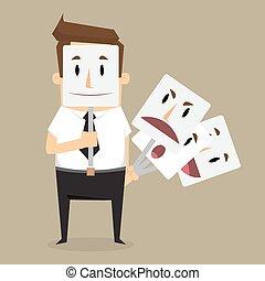fraude, homem negócios, máscara desgastando, sorrizo, raiva, cavaliers., negócio, concept., vetorial, ilustração
