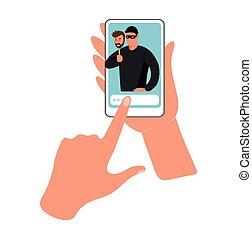 fraude, ligne, fraudster, mains, illustration., téléphone., conceptuel, écran, tenue, illustration, données, plat, cybercrime, hacking., vecteur, téléphone
