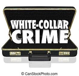 fraude, maletín, crimen, palabras, desfalcar, blanco, robo, cuello, 3d
