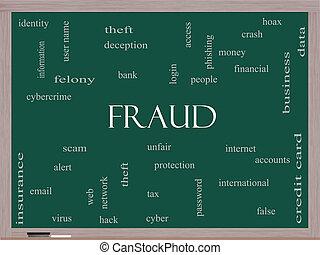 fraude, palavra, nuvem, conceito, ligado, um, quadro-negro