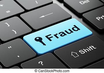 fraude, plano de fondo, computadora, seguridad, llave, teclado, concept: