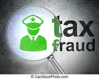 fraude, police, impôt, verre, optique, droit & loi, concept: