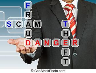 fraude, scam, homem negócios, roubo, perigo