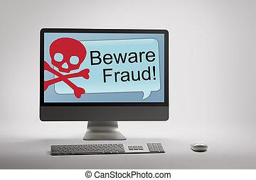 fraude, scam, tela computador, aviso, internet, exibindo