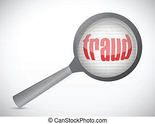 fraude, sob, search., conceito, ilustração