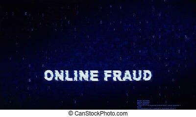 fraude, texte, animation., erreur, effet, déformation, glitch, bruit, numérique, ligne, tic