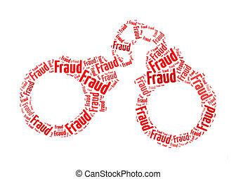 fraude, texto, en, esposar, gráfico, y, arreglo, concepto