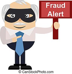 fraude, vieux, illustration, signe, alerte, arrière-plan., vecteur, blanc, homme