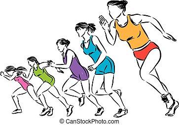 frauen, abbildung, läufer, vektor, gruppe