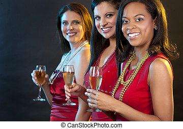 frauen, champagner, halten gläsern