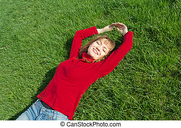 frauen, entspannung, gras