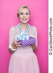 frauen, lila, rosa, geschenk