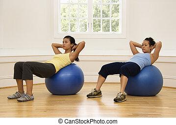 frauen, machen, ab, workout