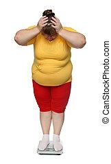 frauen, mit, übergewichtige , auf, waage