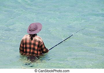 frauen, mit, a, fischen pole, in, sea., thailand.