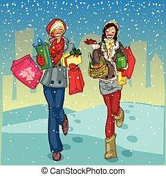 frauen, mit, einkaufstüten, und, geschenk, kästen, gehen