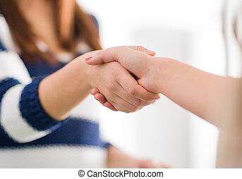 frauen, schüttelnd, zwei hände