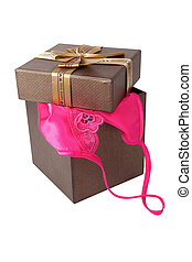 frauen, sexy unterwäsche, mit, geschenkschachtel