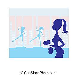 frauen, trainieren, in, turnhalle