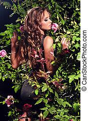 frauenansehen, unter, der, rosenbüsche