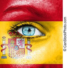 frauengesichter, gemalt, mit, fahne, von, spanien