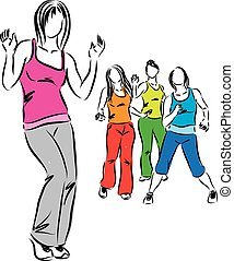 frauengruppe, tanzen, abbildung