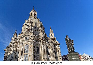 frauenkirche, 私達の, 女性, ドレスデン, 教会