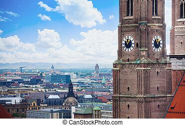 Frauenkirche clock in Munich, Bavaria, Germany
