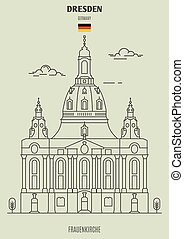 frauenkirche, dresde, germany., repère, icône