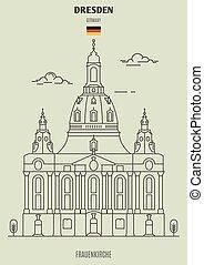 frauenkirche, en, dresden, germany., señal, icono
