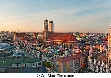 frauenkirche, famoso, munich, alemania, iglesia, vista