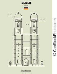 frauenkirche, germany., repère, munich, icône