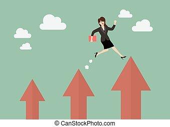 frauenunternehmen, auf, springende , pfeil, höher