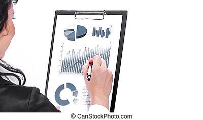 frauenunternehmen, finanziell, freigestellt, geschäftsführung, prüfung, documents., weißes