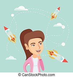 frauenunternehmen, fliegendes, schauen, raketen, kaukasier