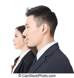 frauenunternehmen, junger, ansicht, seite, mann